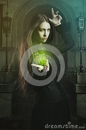 Free Beautiful Witch Casting A Spell Stock Photos - 45118193