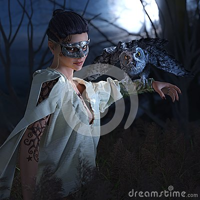 Free Beautiful Witch In Mask With Owl Stock Photos - 45822713