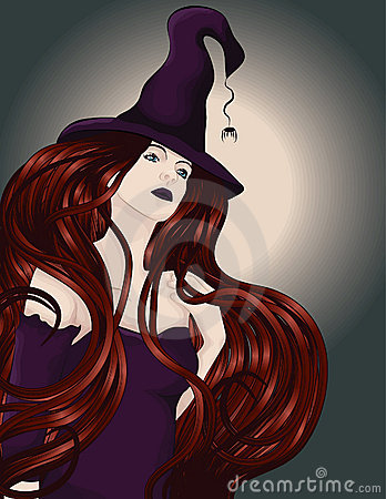 Beautiful witch with long hair