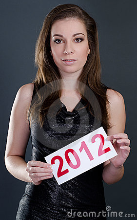 Beautiful woman with 2012 sign