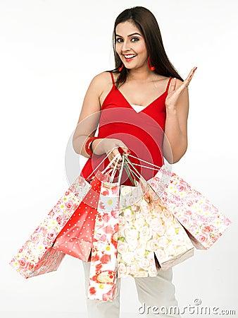Free Beautiful Woman A Shopping Spree Stock Photography - 8067332