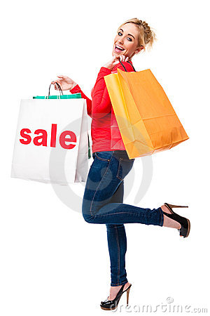Beautiful Woman Advertising Sale Shopping Bag