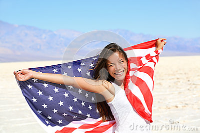 Beautiful woman with the American flag