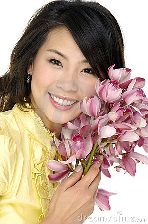 Free Beautiful Woman And Orchid Stock Images - 6090504