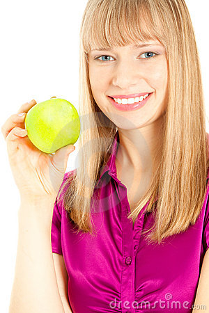 Beautiful woman with apple smiling