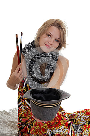 Beautiful Woman Artist Asking For Charity Stock Photography - Image: 27294902