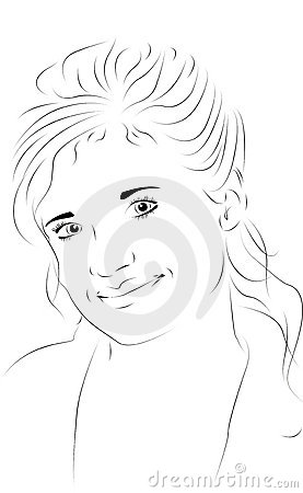 Beautiful woman as line drawing