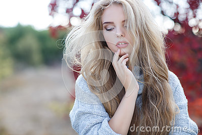 beautiful woman autumn park portrait young long blonde hair blue eyes dressed gray blue knitted sweater light 80786180