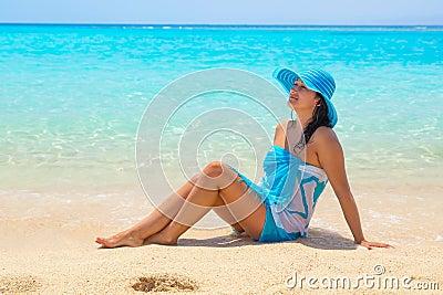 Beautiful woman on the beach of Mahmya island