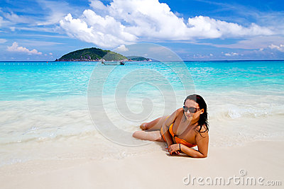 Beautiful woman on the beach of Similan islands