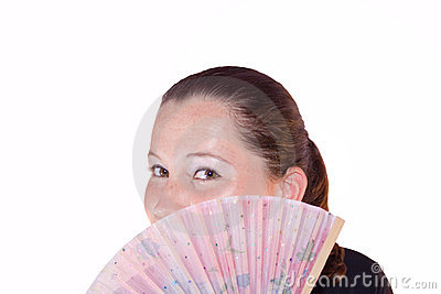 Beautiful Woman Behind A Hand-Held Fan