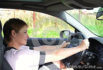 Beautiful woman behind the wheel