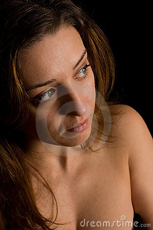 Beautiful woman on black background