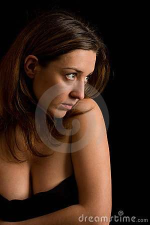 Beautiful woman on black background