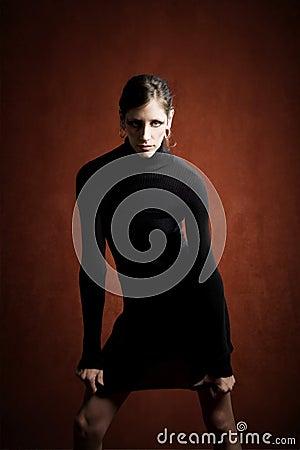 Beautiful Woman in a Black Dress