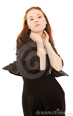 Beautiful woman in black dress isolated