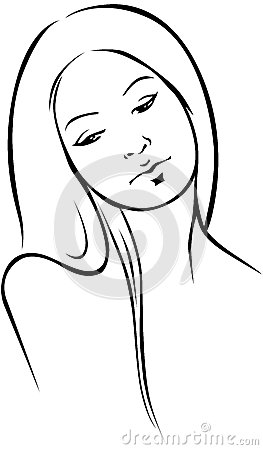 Beautiful woman  - black outline