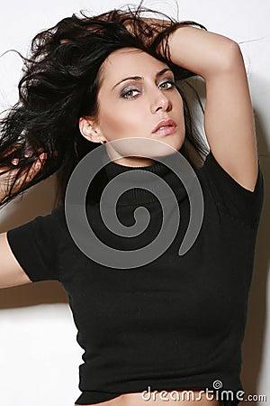 Beautiful woman in a black sweater