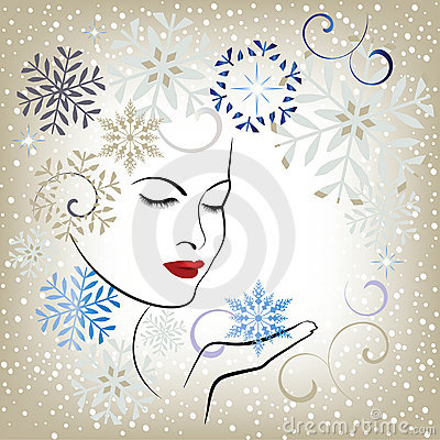 Free Beautiful Woman Blowing Snowflakes - Stylized Stock Photography - 17495762