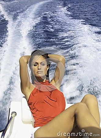 Beautiful woman on a boat