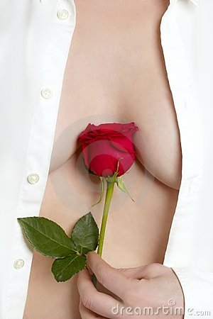 Beautiful woman body holding red rose