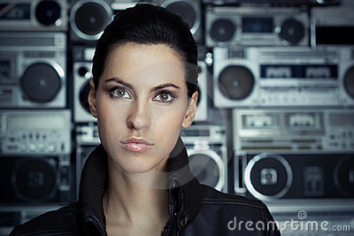Beautiful woman with Boom Box background