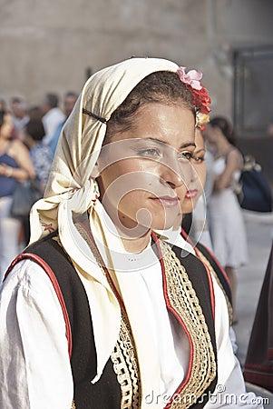 Beautiful woman of Bosnia folk group Editorial Image