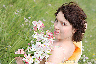 Beautiful woman with bouquet