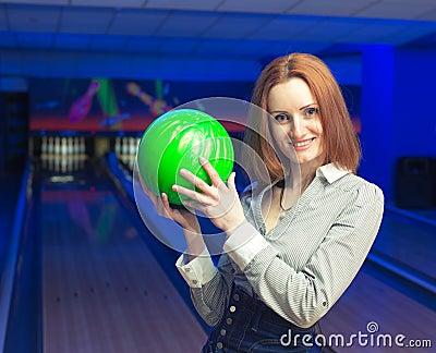 Beautiful woman in a bowling