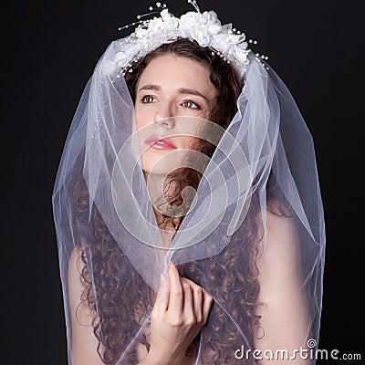 Beautiful Woman in Bridal Veil