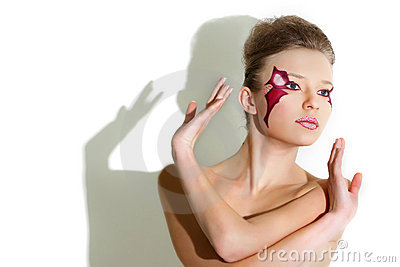 Beautiful woman with bright face art visage