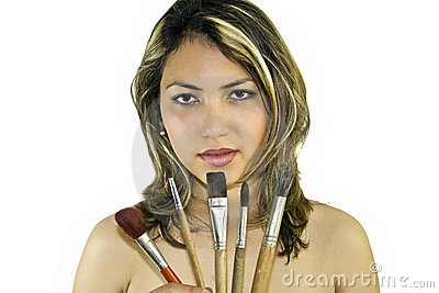 Beautiful woman with brushes