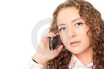 Beautiful woman calling to phone