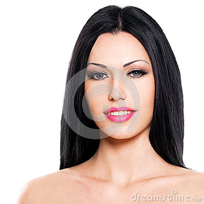 Beautiful woman cares of the skin face