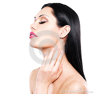 Woman cares of the skin neck