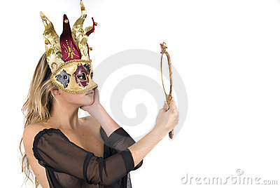 Beautiful woman with carnival venice mask on her f