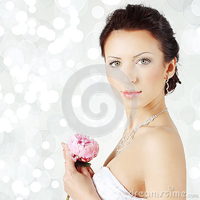 Beautiful woman on celebration background - bride, face