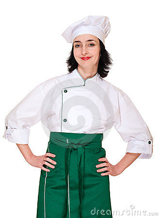 Beautiful woman in chef uniform