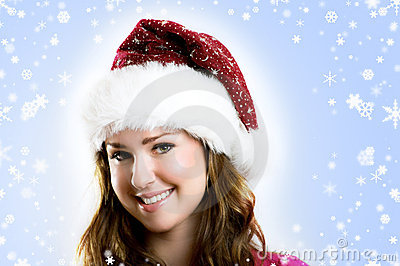 Beautiful woman on christmas