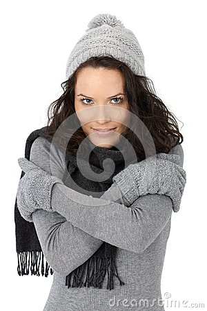 Beautiful woman cold in winter
