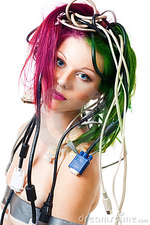 Beautiful woman with computer cords