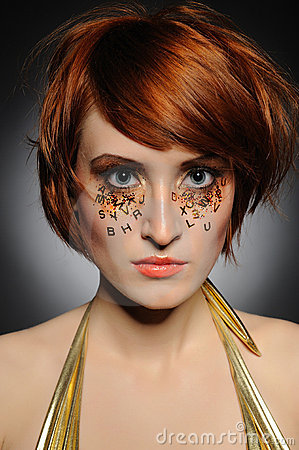 Beautiful woman with creative trendy make-up