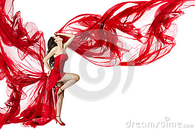 Woman Red Dress flying on wind, Dancing on White