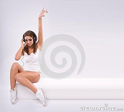 Free Beautiful Woman Dj Wearing  Headphones Royalty Free Stock Images - 10996429