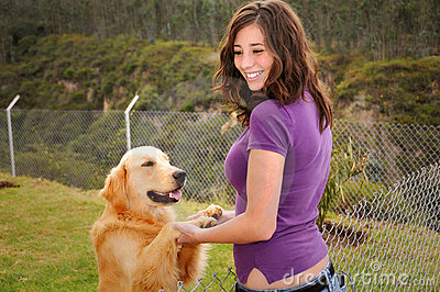 Beautiful woman and dog
