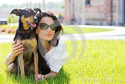 Beautiful woman with dog