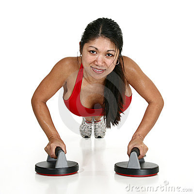 Beautiful Woman Doing Pushups