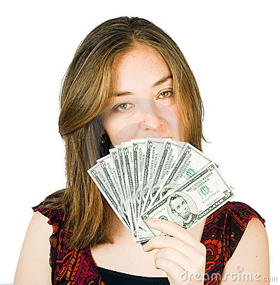 Beautiful woman with dollars on her hand
