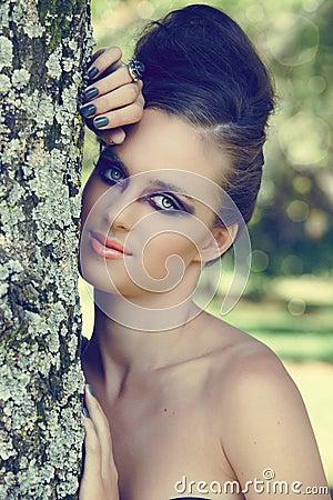 Beautiful woman with dramatic eye make-up