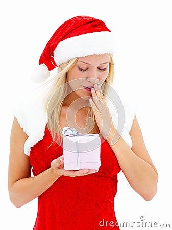 Beautiful woman dressed as Santa